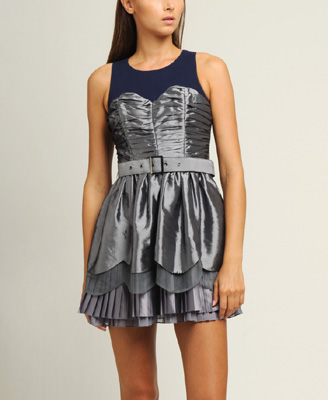 Belted contrast-tiered dress